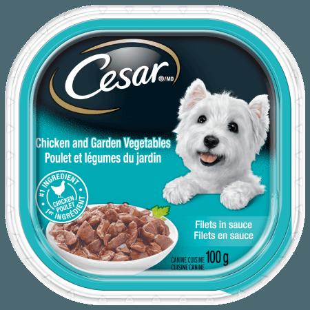 Nourriture CESARMD filets en sauce poulet et légumes du jardin 100g