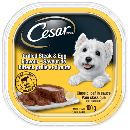 Nourriture CESARMD pain classique en sauce saveur de bifteck grillé et d'œufs 100g