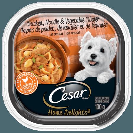 Nourriture CESARMD HOME DELIGHTSMC repas de poulet, de nouilles et de légumes en sauce 100g