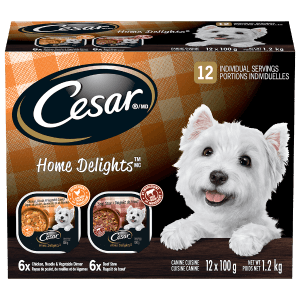 CESAR® HOME DELIGHTSTM 6 Beef Stew And 6 Chicken, Noodle & Vegetable 12x100g