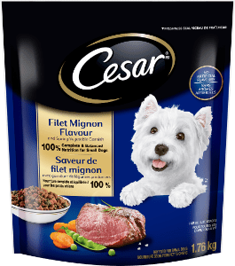 CESAR® Filet Mignon Flavour and Spring Vegetable Garnish