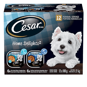 CESAR® HOME DELIGHTSTM POT ROAST AND CHICKEN & VEGETABLE 12-count Multipack