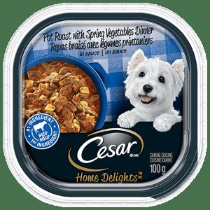 CESAR® HOME DELIGHTSTM POT ROAST WITH SPRING VEGETABLES DINNER IN SAUCE 100g