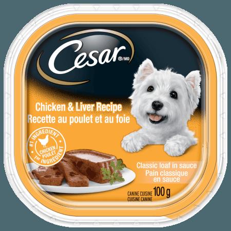 Nourriture CESARMD pain classique en sauce recette au poulet et au foie 100g