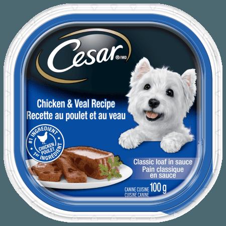 Nourriture CESARMD pain classique en sauce RECETTE AU POULET ET AU VEAU 100 g