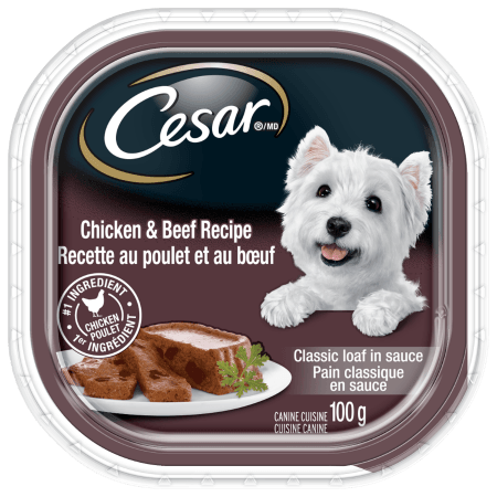 Nourriture CESARMD pain classique en sauce RECETTE AU POULET ET AU BŒUF 100 g