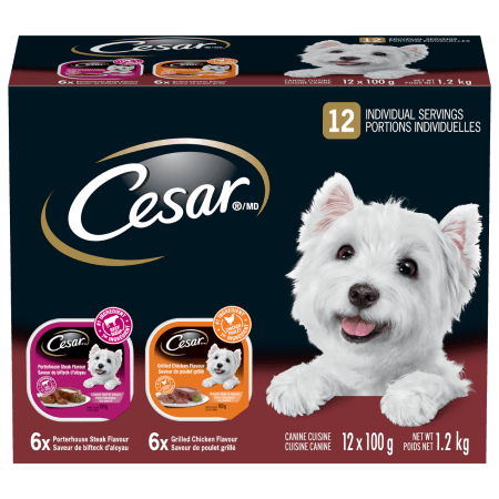 CESAR® Classic Loaf in Sauce: 6 Grilled Chicken Flavour & 6 Porterhouse Steak Flavour 12x100g