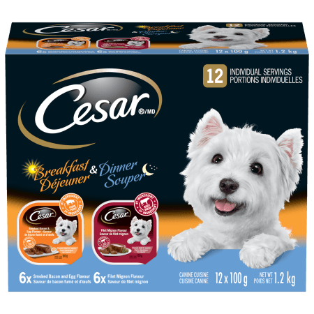 CESAR® Dinner & Breakfast: 6 Filet Mignon Flavour, 6 Smoked Bacon + Egg Flavour 12x100g