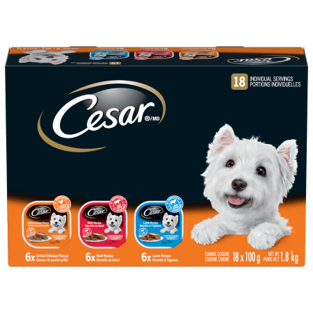 CESAR® Classic Loaf in Sauce: 6 Beef, 6 Grilled Chicken & 6 Lamb 18x100g