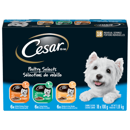CESAR® Classic Loaf in Sauce: Poultry Selects 6 Grilled Chicken, 6 Turkey & 6 Chicken Liver 18x100g