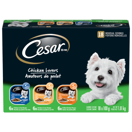 CESAR® Classic Loaf in Sauce: Chicken Lovers -  6 Grilled Chicken, 6 Chicken Veal & 6 Chicken Liver 18x100g