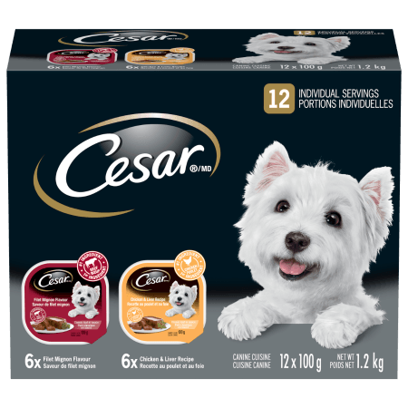CESAR® Classic Loaf in Sauce: 6 Filet Mignon Flavour & 6 Chicken And Liver 12x100g