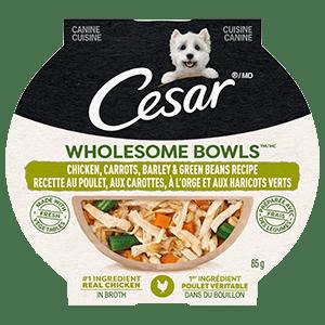 Nourriture humide pour chiens adultes CESAR WHOLESOME BOWLS recette au poulet, aux carottes, à l'orge et aux haricots verts 85 g