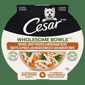 Nourriture humide pour chiens adultes CESAR WHOLESOME BOWLS recette au poulet, aux patates douces et aux haricots verts 85 g