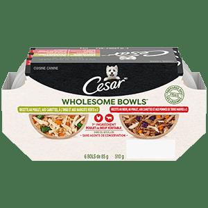 Nourriture humide pour chiens adultes CESAR WHOLESOME BOWLS recette au poulet, aux carottes, à l'orge et aux haricots verts et recette au bœuf, au poulet, aux carottes et aux pommes de terre mauves 510 g (6 bols)