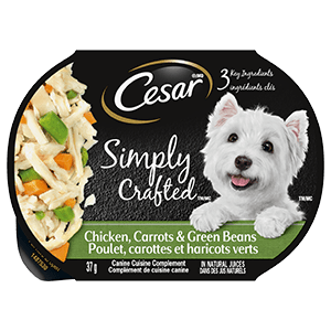 Nourriture humide pour chiens adultes CESAR SIMPLY CRAFTED poulet, carottes et haricots verts 37g