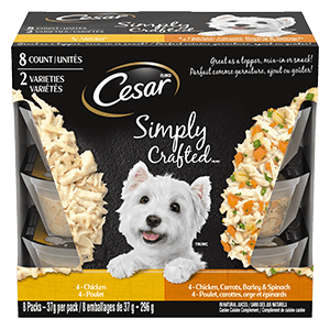 CESAR SIMPLY CRAFTED Adult Wet Dog Food - Chicken - Chicken, Carrots, Barley & Spinach 296g (8 packs)