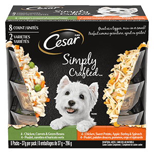 CESAR SIMPLY CRAFTED Adult Wet Dog Food - Chicken Carrots & Green Beans - Chicken, Sweet Potato, Apple, Barley & Spinach 296g (8 packs)