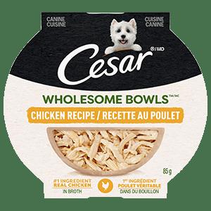 Nourriture humide pour chiens adultes CESAR WHOLESOME BOWLS recette au poulet 85 g