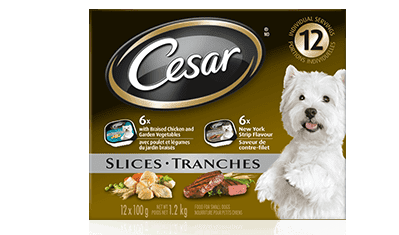 CESAR® Filets in Sauce: 6 braised chicken & garden vegetables, 6 new york strip flavour 12x100g