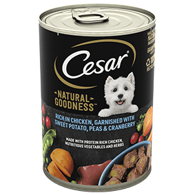 Cesar<sup>®</sup> Natural Goodness™ rich in Chicken, garnished with Sweet Potato, Peas and Cranberry (400g can)