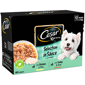 Cesar<sup>®</sup> Senior Pouch Selection in sauce (100g pouch, 12pk)