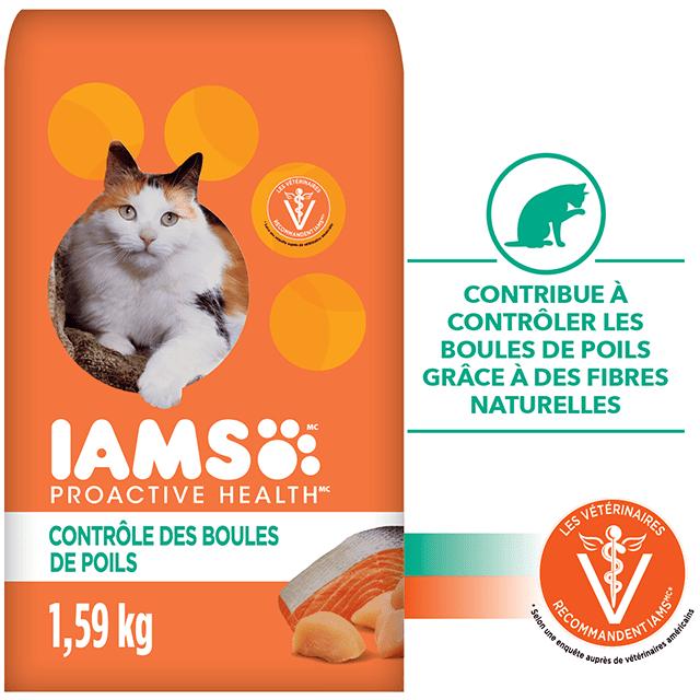 Nourriture sèche pour chats adultes Hairball Care avec poulet et saumon