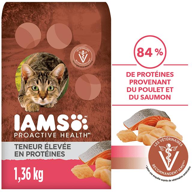 Nourriture sèche pour chats adultes Teneur élevée en protéines recette au poulet et au saumon