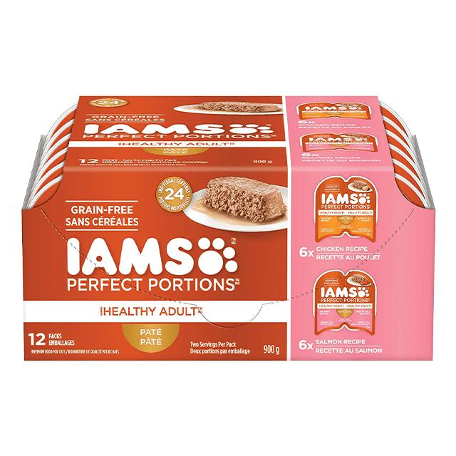 Nourriture humide pour chats adultes Healthy Adult Pâté recette au poulet et recette au saumon en multi-emballage de 12 unités