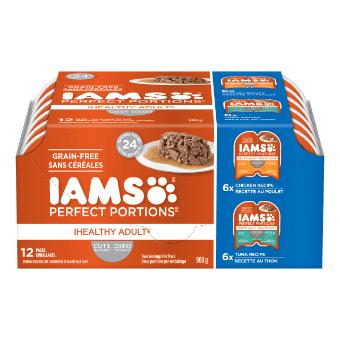 Nourriture humide pour chats adultes Healthy Adult Coupes en sauce recette au poulet et recette au thon en multi-emballage de 12 unités