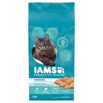 Adult Indoor Weight & Hairball Care Dry Cat Food with Chicken & Turkey