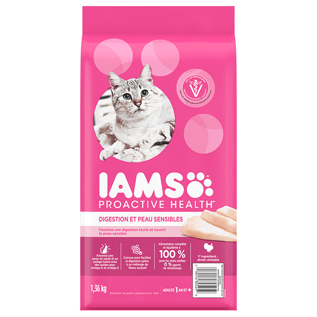 Nourriture sèche pour chats adultes digestion et peau sensibles avec dinde