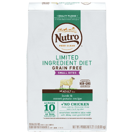 Nourriture à éventail limité d'ingrédients sans céréales  pour chiens adultes