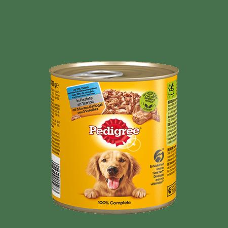 PEDIGREE® Dose Adult in Pastete mit 3 Sorten Geflügel