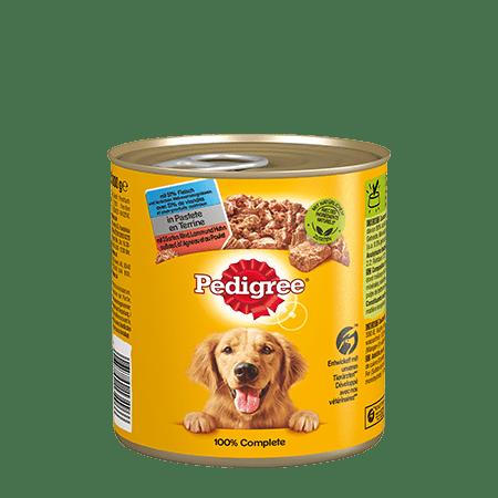 PEDIGREE®  Dose Adult in Pastete mit 3 Sorten: Rind, Lamm und Huhn