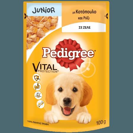 PEDIGREE® Πλήρης Υγρή Τροφή για Κουτάβια σε Φακελάκι Junior Κοτόπουλο & Ρύζι 100g