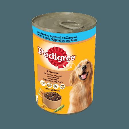 PEDIGREE® Πλήρης Υγρή Τροφή σε Κονσέρβα Αρνάκι, Λαχανικά & Ζυμαρικά 400g
