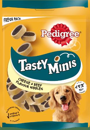 PEDIGREE®Tasty Minis Cheesy Bites με Τυρί & Μοσχάρι 140g