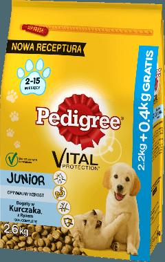 PEDIGREE® Vital Protection™ Junior Bogaty w Kurczaka, z Ryżem. 2,6kg
