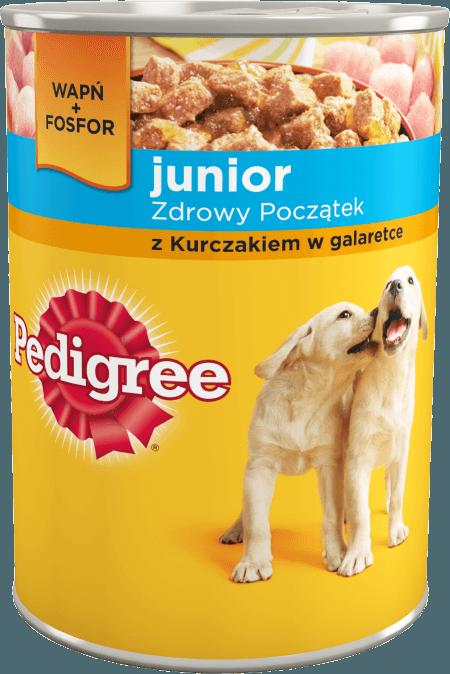 PEDIGREE® Junior Zdrowy Start z Kurczakiem w galaretce, dla szczeniąt 1-12 miesięcy