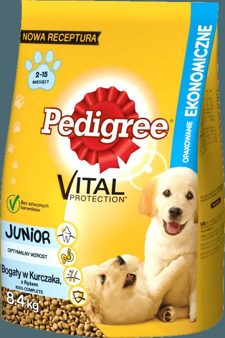 PEDIGREE® Vital Protection™ Junior Bogaty w Kurczaka, z Ryżem dla szczeniąt dużych ras. 8,4kg