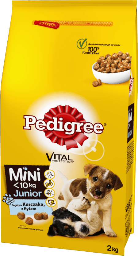 PEDIGREE® Vital Protection™  Mini <10kg Junior Bogaty w Kurczaka, z Ryżem. 2kg