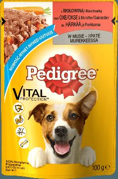 PEDIGREE® Vital Protection z Wołowiną i Marchewką w Musie dla dorosłych psów. 100g