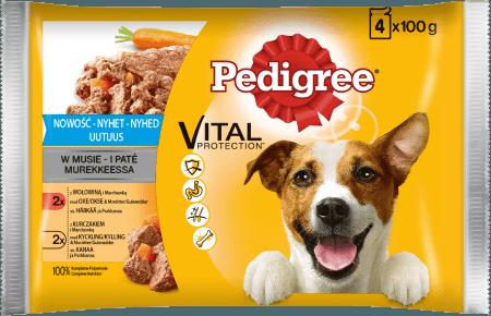 PEDIGREE® Vital Protection z Wołowiną i Marchewką, z Kurczakiem i Marchewką w Musie, dla dorosłych psów. 4x100g