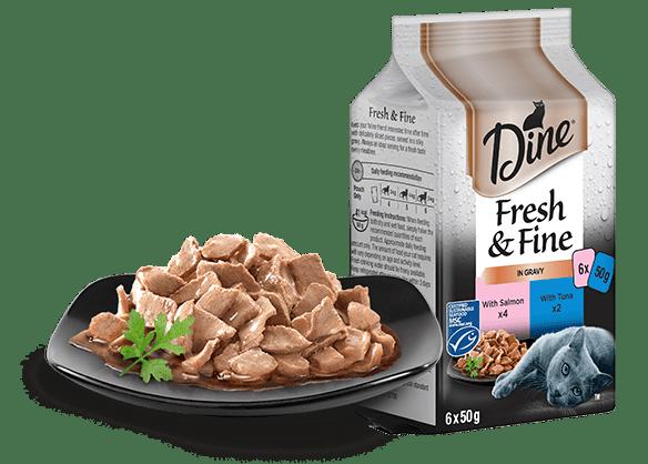 DINE Fresh & Fine Adult Wet Cat Food in Gravy Tuna & Salmon