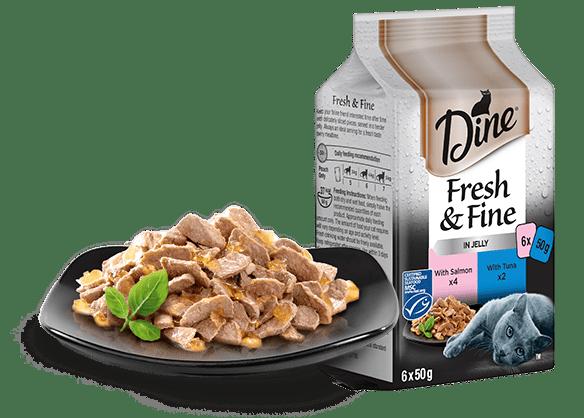 DINE Fresh & Fine Adult Wet Cat Food in Jelly Tuna & Salmon