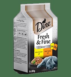 Mini Fresh & Fine DINE Fresh & Fine Adult Wet Cat Food in Jelly Chicken & Turkey