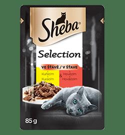 Sheba® kapsička pro dospělé kočky Selection Hovězí a Kuřecí ve šťávě