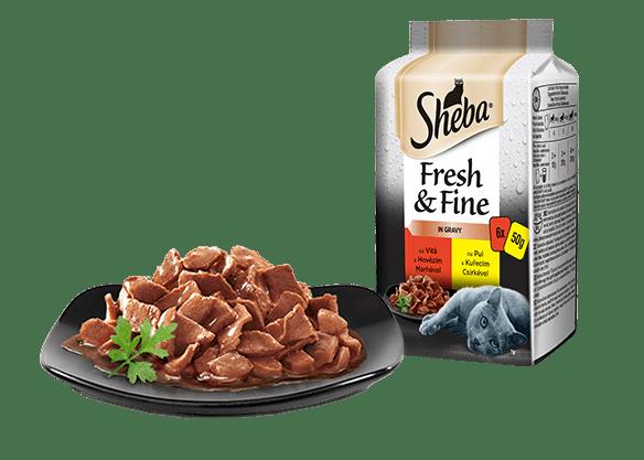 Sheba® Fresh & Fine kapsičky pro dospělé kočky Hovězí a Kuřecí