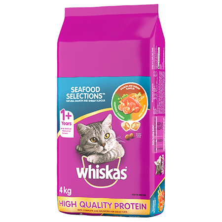 WHISKAS<sup>®</sup> Dry Cat Food Seafood Selections<sup>TM </sup>, Natural Salmon and Shrimp Flavour